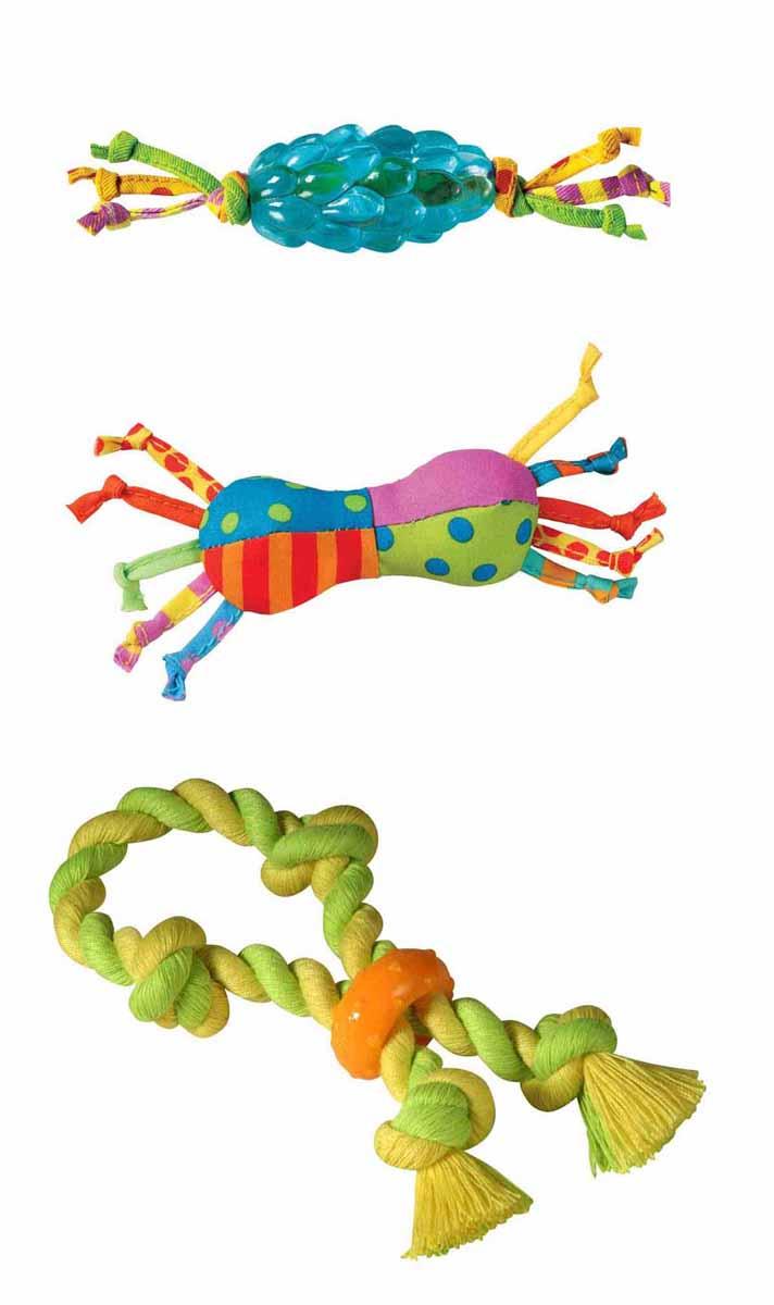 Набор игрушек для собак Petstages Mini, 3 шт237REXНабор Petstages Mini, изготовленный из полипропилена и текстиля, состоит из трех игрушек для собак: каната, Orka-шишки и игрушки для нежных десен. Игрушки предназначены для собак мелких и средних пород. Они способствуют тренировке жевательных мышц и массажу десен. Различная текстура игрушек добавляет интерес к игре. Средний размер игрушек (ДхШхВ): 10 см х 5 см х 2,5 см.