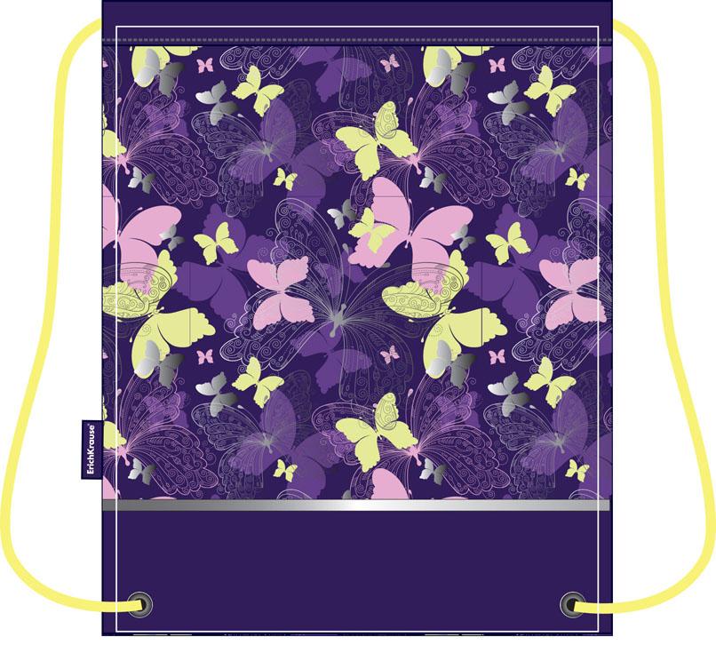 Сумка для сменной обуви Erich Krause Butterfly Land, цвет: фиолетовый, желтый34837Сумку Erich Krause Butterfly Land удобно использовать как для хранения, так и для переноски сменной обуви. Сумка выполнена из прочного полиэстера фиолетового цвета и оформлена ярким принтом с изображением бабочек. На лицевой стороне расположен прорезной карман, закрывающийся на застежку-молнию. Сумка затягивается сверху при помощи текстильных шнурков. Шнурки фиксируются в нижней части сумки, благодаря чему ее можно носить за спиной как рюкзак. Светоотражающие вставки на сумке не оставят вашего ребенка незамеченным в темное время суток.