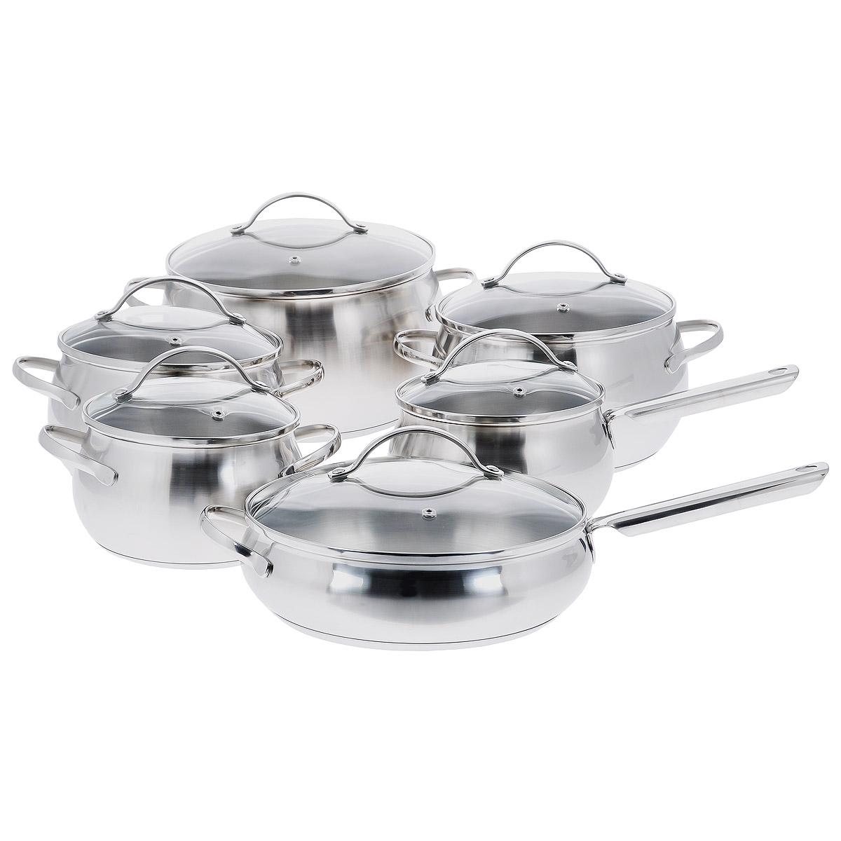 Набор посуды Regent Inox Apple, 12 предметов. 93-D-1293-D-12Набор посуды Regent Inox Apple состоит из четырех кастрюль разного объема с крышками, сковороды с крышкой и ковша с ручкой и крышкой. Все предметы набора выполнены из высококачественной нержавеющей стали с матовой полировкой. Крышки, изготовленные из термостойкого стекла, снабжены металлическими ободками для прочности и более плотного закрывания и отверстиями для выпуска пара. В посуде Regent Inox Apple, изготовленной из экологически чистого материала, можно готовить без масла или жира, в этой посуде сохраняются все полезные свойства продуктов и естественные вкусовые качества. Оптимальное соотношение толщины дна и стенок посуды обеспечивает равномерное распределение тепла, экономит энергию, устойчиво к деформации. Многослойное капсулированное дно аккумулирует тепло, способствует быстрому закипанию и приготовлению пищи даже при небольшой мощности конфорок. Крепление ручек посуды к корпусу методом точечной сварки обеспечивает минимальный нагрев, прочность и надежность. ...
