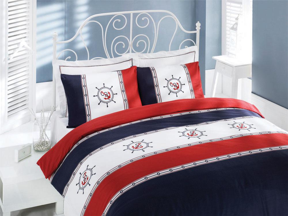 Комплект белья JOLLY Бело-сине-красный, перкаль, 200ТС, 100% хлопок, семJOLLY семейныйJolly – яркие, насыщенные тона в сочетании с вышивкой на морскую тематику напомнят Вам о чудесном отдыхе и подарят прекрасное настроение.
