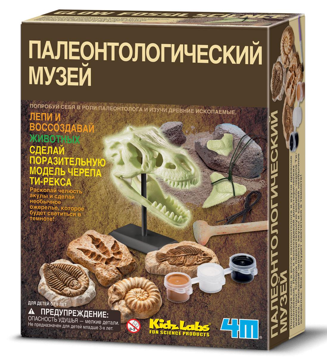 Сборная модель 4M Палеонтологический музей00-03356Попробуйте себя в роли палеонтолога и изучите древние ископаемые. Лепите и воссоздавайте доисторических животных. Соберите поразительную модель черепа Ти-рекса. Раскопайте челюсть акулы и сделайте необычное ожерелье, которое будет светиться в темноте! Набор содержит 2 пакета гипсового порошка, 1 поддон для лепки, кисточку, светящуюся краску, гипсовый блок с акульей челюстью, инструмент для раскопок, кожаный шнурок, набор со светящимся черепом динозавра, дисплей-подставку, самоклеящиеся магниты и детальную инструкцию.