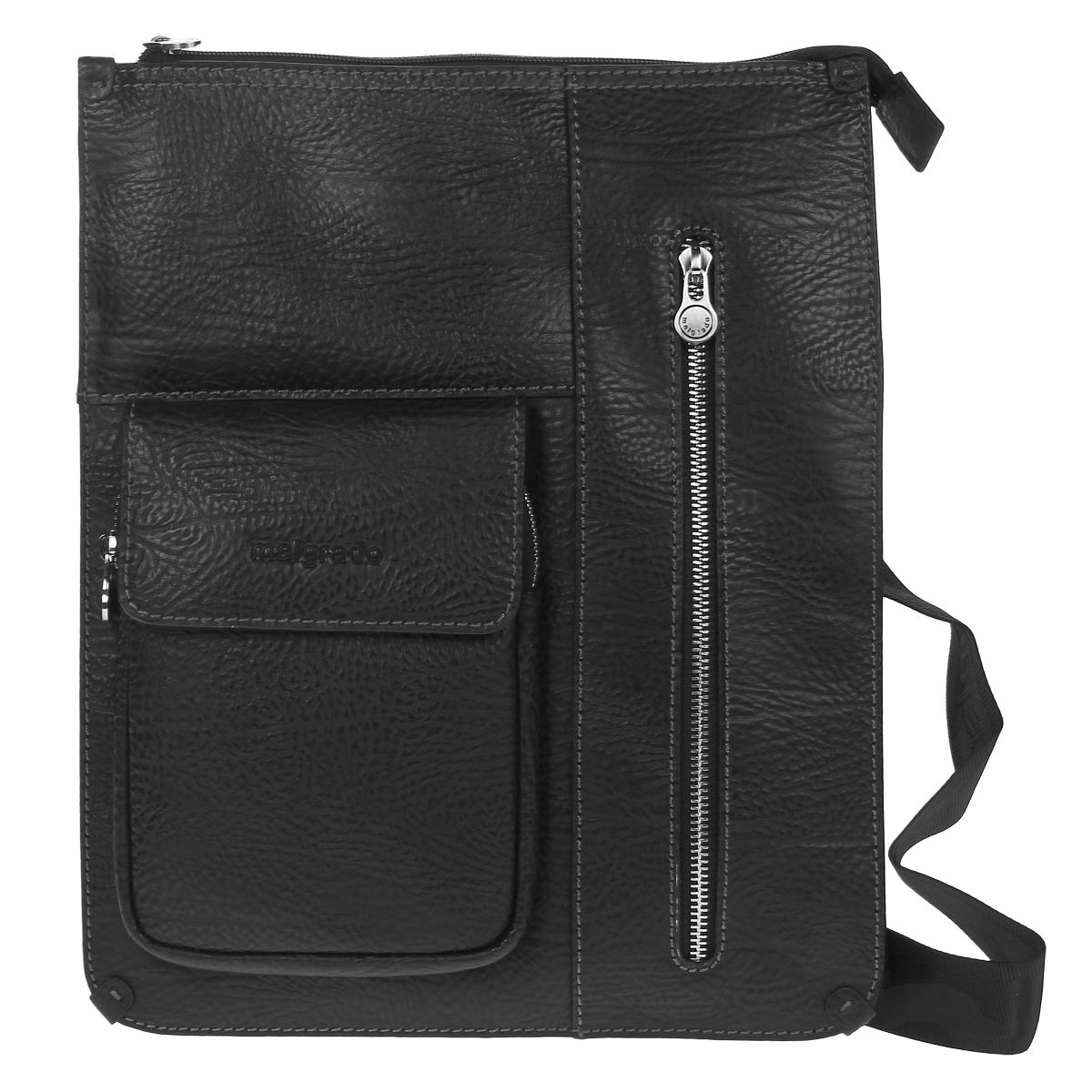 Сумка мужская Malgrado, цвет: черный. BR12-557A2506BR12-557A2506 blackМужская сумка Malgrado, выполнена из натуральной кожи коричневого цвета. Основное отделение закрывается железной молнией, в основном отделе вшитый кармашек на молнии. Спереди удобный вертикальный кармашек, закрывающийся на молнию и нашивной кармашек, который закрывается на молнию и дополнительно клапаном на магнитную кнопку. Внутри расположено два кармашка для визиток и кредитных карт, кармашек для телефона и два фиксатора для пишущих принадлежностей. Модель снабжена плечевым ремнем.