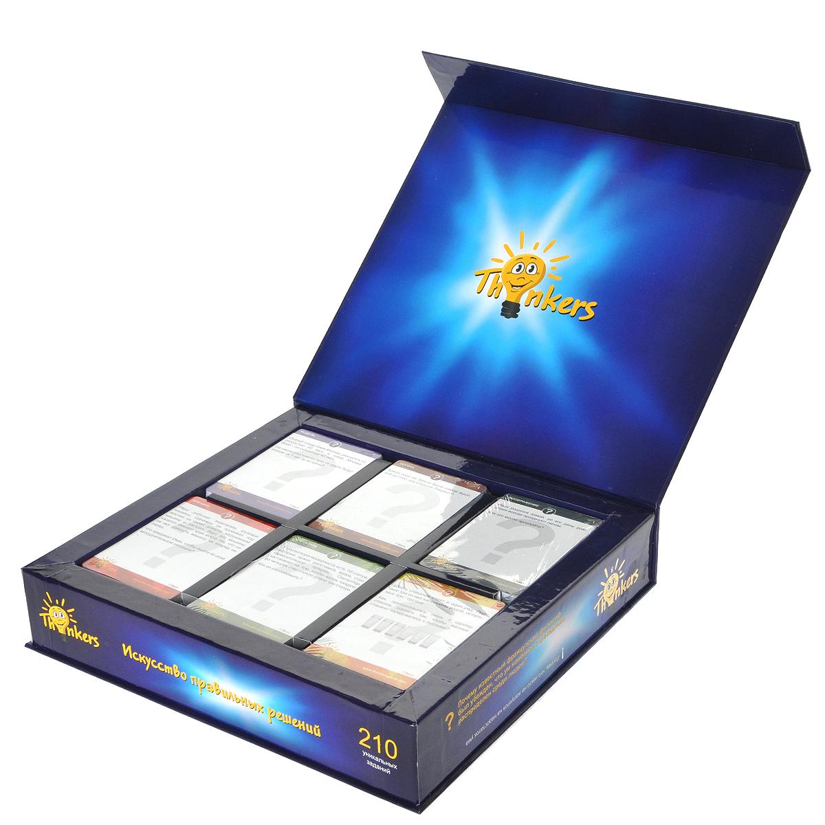 Логическая игра Thinkers, 6 в 170862Логическая игра Thinkers - это интеллектуальная игра для детей от 12 лет и взрослых с уникальными заданиями, стимулирующими различные типы мышления человека. Игра включает 210 карточек с заданиями шести отдельных разделов: Структура, Причина, Логика, Последовательность, Воображение и Модель. Каждая карточка содержит задачу и на обратной стороне - ответ на нее. Задания имеют различную степень сложности от 1 балла до 5 баллов, таким образом, играть могут участники с различным уровнем развития. Цель игры - набрать максимальное количество баллов за отведенное для игры время. Если время не определено, то выигрывшей считается та команда, которая первой наберет 20 баллов. В ходе игры участники (отдельные лица либо команды) после обдумывания дают ответ на задание, изложенное на одной из карточек. В случае, если на задание дан правильный ответ, участник (либо команда) получают определенное количество баллов (от 1 до 5), указанных на самой карточке. Выигрывает игрок или команда...