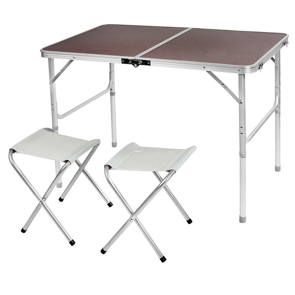 Набор складной мебели Happy Camper, 3 предметаST-9861Стол складной Happy Camper с 2 стульями - это незаменимый предмет походной мебели, очень удобен в эксплуатации. Каркас складного стола выполнен из алюминия, а столешница из МДФ. Стол легко собирается и разбирается и не занимает много места, поэтому подходит для транспортировки и хранения дома. Складывается в виде чемоданчика.