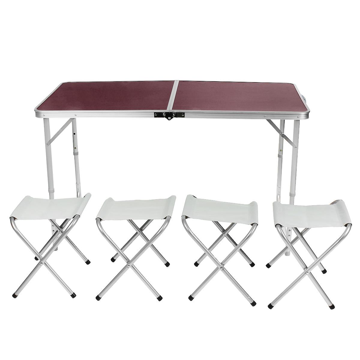 Набор складной мебели Happy Camper, 5 предметовST-12060Стол складной Happy Camper с 4 стульями - это незаменимый предмет походной мебели, очень удобен в эксплуатации. Каркас складного стола выполнен из алюминия, а столешница из МДФ. Стол легко собирается и разбирается и не занимает много места, поэтому подходит для транспортировки и хранения дома. Складывается в виде чемоданчика.