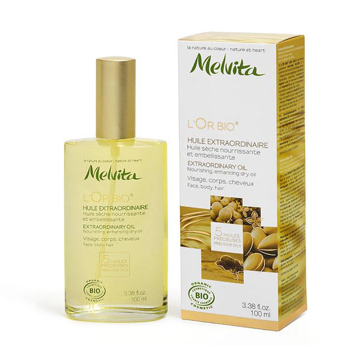 Melvita Экстраординарное масло LOr Bio, 100 мл024543Melvita LOr Bio - 100% натуральное масло, которое питает, защищает и преображает кожу. Превосходная текстура делает кожу шелковистой и окутывает ее пленительным утонченным ароматом. Уникальная формула из 5 редких и ценных масел. Нежно питает кожу тела и волос, не оставляя жирного блеска. Способ применения : наносить на кожу лица и/или тела, волосы.