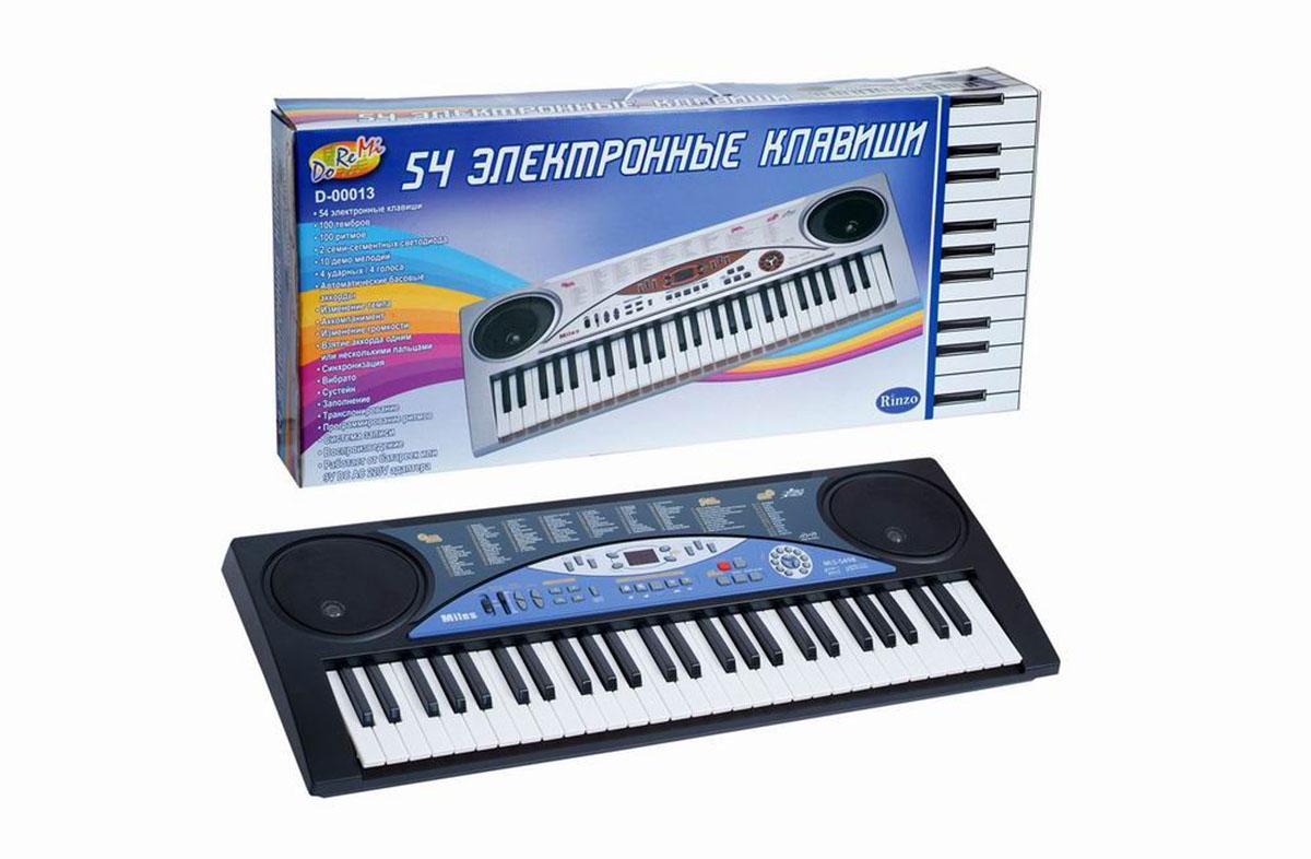 Синтезатор DoReMi, 54 клавиши. D-00013D-00013Яркий синтезатор DoReMi привлечет внимание вашего ребенка и доставит ему много удовольствия от часов, посвященных игре с ним. Синтезатор имеет 54 музыкальные клавиши и множество кнопок, позволяющих добавлять различные звуковые эффекты при составлении мелодий, менять темп и ритм музыки. Также можно произвести запись мелодий. Основные характеристики синтезатора: 100 тембров 100 ритмов 2 семи-сегментных светодиода 10 демо-мелодий 4 ударных / 4 голоса Автоматические басовые аккорды Изменение темпа Аккомпанемент Изменение громкости Взятие аккорда одним или несколькими пальцами Синхронизация Вибрато Сустейн Заполнение Транспортирование Программирование ритмов Система записи Воспроизведение. С помощью этого синтезатора ребенок сможет развить свои музыкальные способности и порадовать друзей и близких великолепным концертом. Порадуйте его таким замечательным подарком! ...