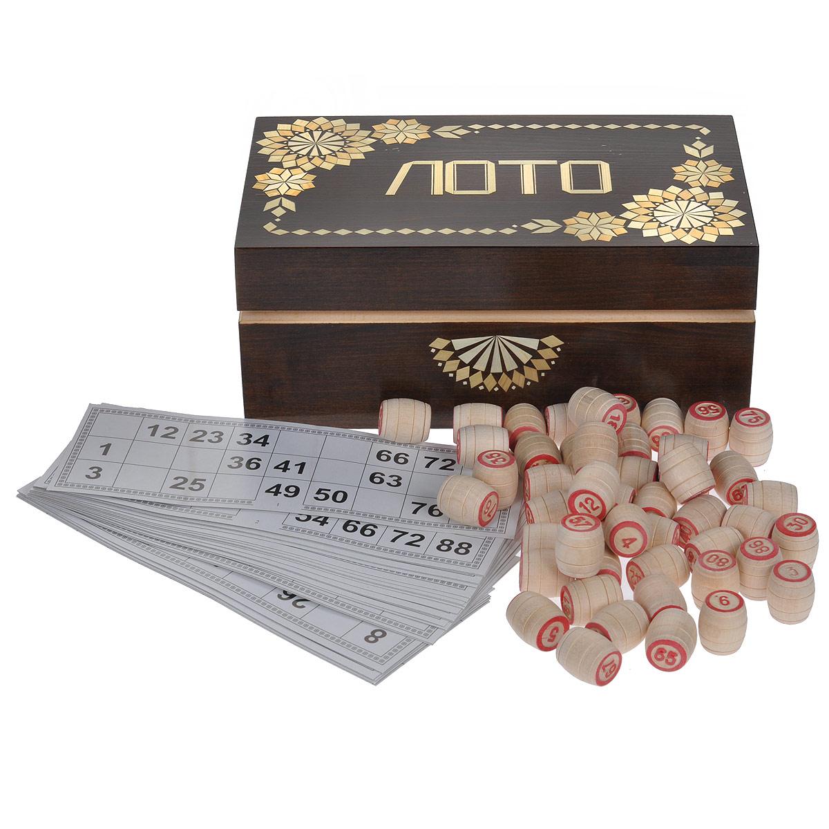 Игра настольная Русское лото, размер: 24,5х15х9. 30043004Настольная игра Русское лото - то, что нужно для отличного проведения досуга в кругу друзей и близких. Набор включает 90 деревянных бочонков, текстильный мешочек и 24 игровых карточки. Для бочонков предусмотрен текстильный мешочек синего цвета. Все предметы хранятся в подарочной деревянной шкатулке, оформленной узорами из соломки и надписью Лото. Русское лото - это старинная русская игра, правила которой предельно просты и всем известны. Игра обрела популярность в 20 веке и стала единственной официально разрешенной азартной игрой в Советском Союзе. Суть игры состоит в том, чтобы первым закрыть определенное количество цифр на своей карточке. Русское лото делится на три вида: простое лото, короткое лото и лото три на три. Играть можно на деньги или на интерес. Подробные правила игры вы можете найти в инструкции, написанной на коробки.