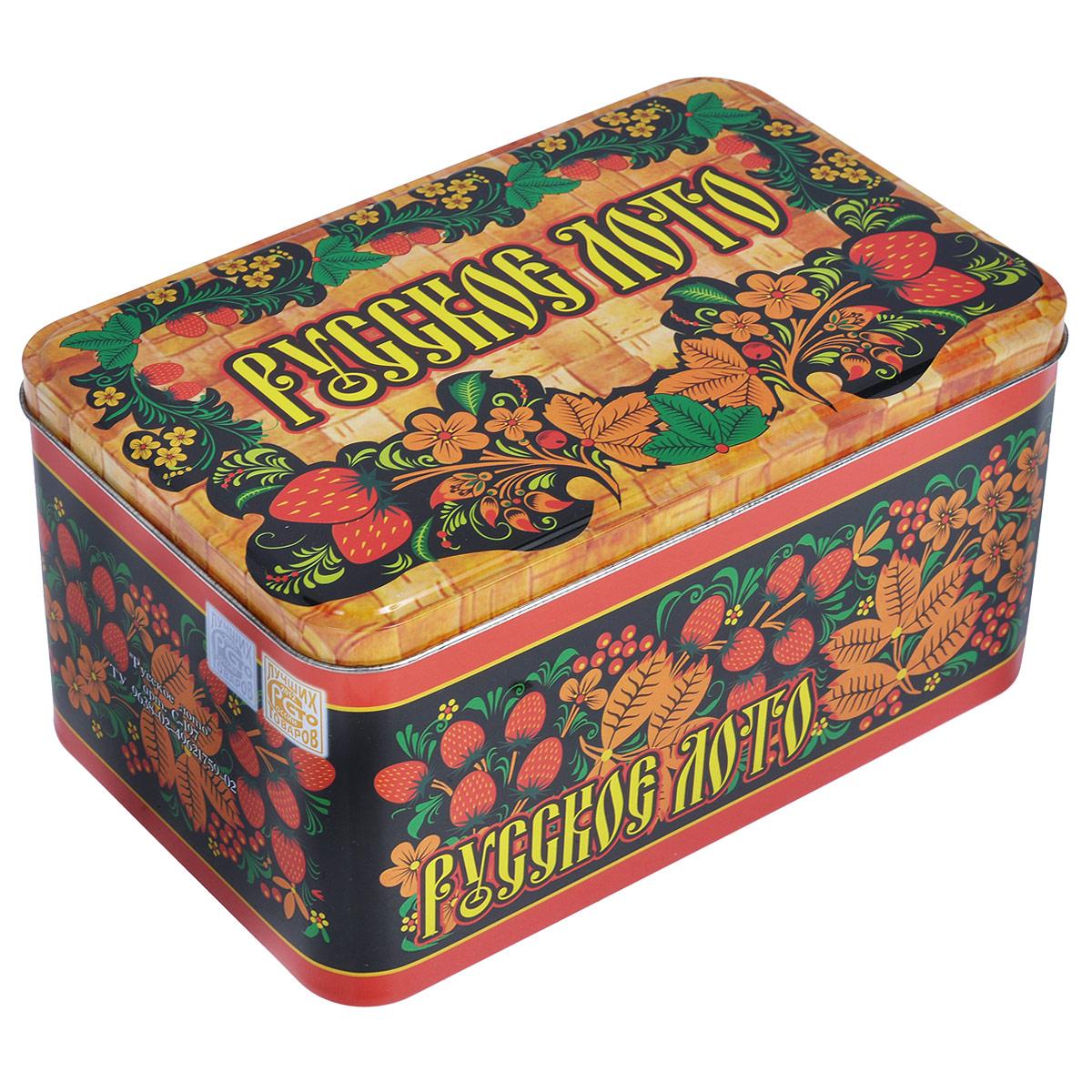 Игра настольная Русское лото, размер: 19х11х10,5 см. 30033003Настольная игра Русское лото - то, что нужно для отличного проведения досуга в кругу друзей и близких. Набор включает 90 деревянных бочонков, текстильный мешочек и 24 игровых карточки. Для бочонков предусмотрен текстильный мешочек коричневого цвета. Все предметы хранятся в жестяной коробке, оформленной узорами в русском народном стиле и надписью Русское лото. Русское лото - это старинная русская игра, правила которой предельно просты и всем известны. Игра обрела популярность в 20 веке и стала единственной официально разрешенной азартной игрой в Советском Союзе. Суть игры состоит в том, чтобы первым закрыть определенное количество цифр на своей карточке. Русское лото делится на три вида: простое лото, короткое лото и лото три на три. Играть можно на деньги или на интерес. Подробные правила игры вы можете найти в инструкции, написанной на коробки.