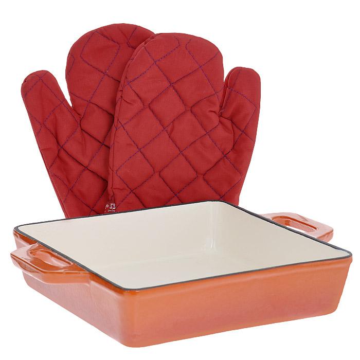 Жаровня Vitesse Ferro, цвет: оранжевый, 25 х 25 см + ПОДАРОК: Кухонные рукавицы, 2 штVS-2327Жаровня Vitesse Ferro изготовлена из чугуна с эмалированной внутренней и внешней поверхностью. Эмалированный чугун - это железо, на которое наложено прочное стекловидное эмалевое покрытие. Такая посуда отлично подходит для приготовления традиционной здоровой пищи. Чугун является наилучшим материалом, который долго удерживает и равномерно распределяет тепло. Благодаря особым качествам эмали, чем дольше вы используете посуду, тем лучше становятся ее эксплуатационные характеристики. Чугун обладает высокой прочностью, износоустойчивостью и антикоррозийными свойствами. Жаровня оснащена цельнолитыми чугунными ручками. В подарок: - кухонные рукавицы. Можно готовить на газовых, электрических, стеклокерамических, галогенных, индукционных плитах. Подходит для мытья в посудомоечной машине и использования в духовом шкафу. Характеристики: Материал: чугун. Цвет: оранжевый, бежевый. Внутренний размер жаровни: 25 см х 25 см. ...