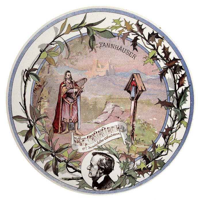 Декоративная тарелка с портретом Рихарда Вагнера и иллюстрацией к опере