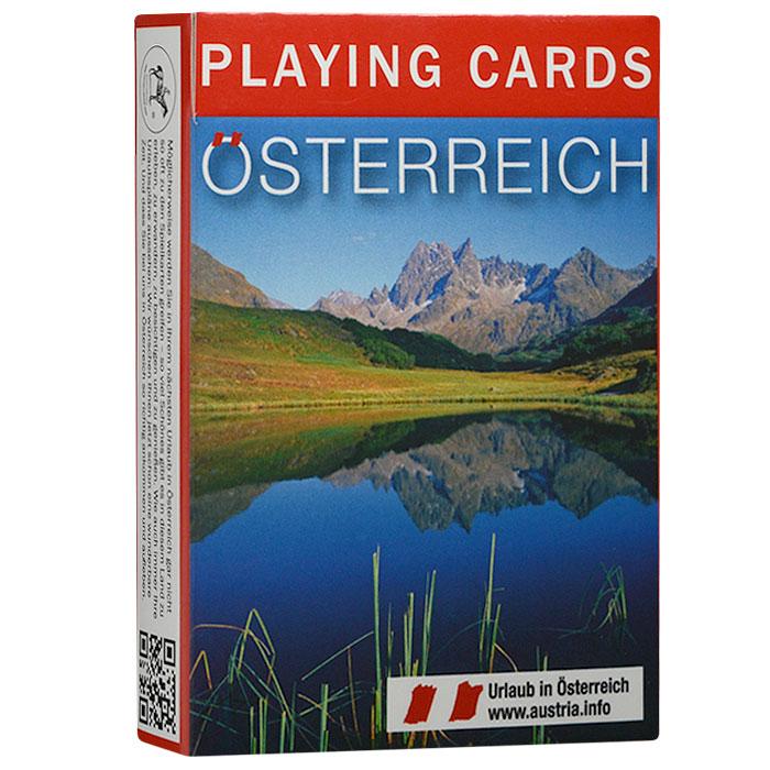 Коллекционные игральные карты Австрия, 55 листов. 16141614Коллекционные игральные карты выполнены из картона с пластиковым покрытием. В основу оформления колоды легли изображения, посвященные природе, архитектуре и достопримечательностям Австрии. Карты имеют стандартный индекс, гладкую поверхность и стандартный размер.
