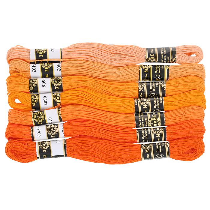 Набор ниток мулине Цветик-семицветик, хлопчатобумажные, цвет: оранжевый лепесток, 20 м, 7 шт0132800546778Набор ниток мулине в 12 сложения Цветик-семицветик изготовлены из 100% хлопка. Такие нитки используются для вышивания. Нити крученые, матовые, мерсеризованные. Устойчивость окраски - особо прочная. В набор входит 7 мотков, разного оттенка. С их помощью вы сможете вышить своими руками необычные и красивые вещи.