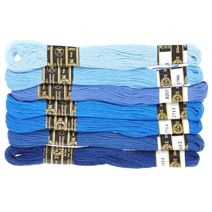 Набор ниток мулине Цветик-семицветик, хлопчатобумажные, цвет: синий лепесток, 20 м, 7 шт0132800550778Набор ниток мулине в 12 сложения Цветик-семицветик изготовлены из 100% хлопка. Такие нитки используются для вышивания. Нити крученые, матовые, мерсеризованные. Устойчивость окраски - особо прочная. В набор входит 7 мотков, разного оттенка. С их помощью вы сможете вышить своими руками необычные и красивые вещи.