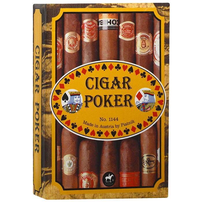 Карты игральные коллекционные Piatnik Сигары. Покер, 55 карт. 11441144Коллекционные игральные карты выполнены из картона с пластиковым покрытием. В основу оформления рубашки легли изображения этикеток от сигар. Карты имеют стандартный индекс, гладкую поверхность и стандартный покерный размер.