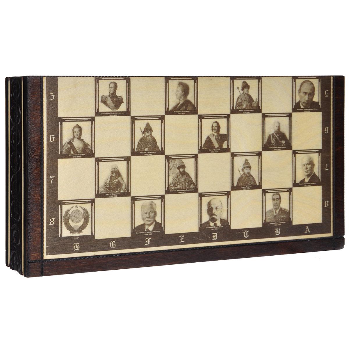 Шахматы Madon Политические деятели России, размер: 35х17,5х5 см. 144АР144АРШахматы Политические деятели России представляют собой деревянный кейс, который закрывается на металлический замок. На внешней стороне в раскрытом виде изображено игровое поле для игры в шахматы. Его особенность в том, что клеточки оформлены изображениями известных российских политиков. Все предметы набора изготовлены из дерева. Шахматы - это увлекательная игра, которая поможет развить логическое мышление и позволит вам интересно и с пользой провести время.