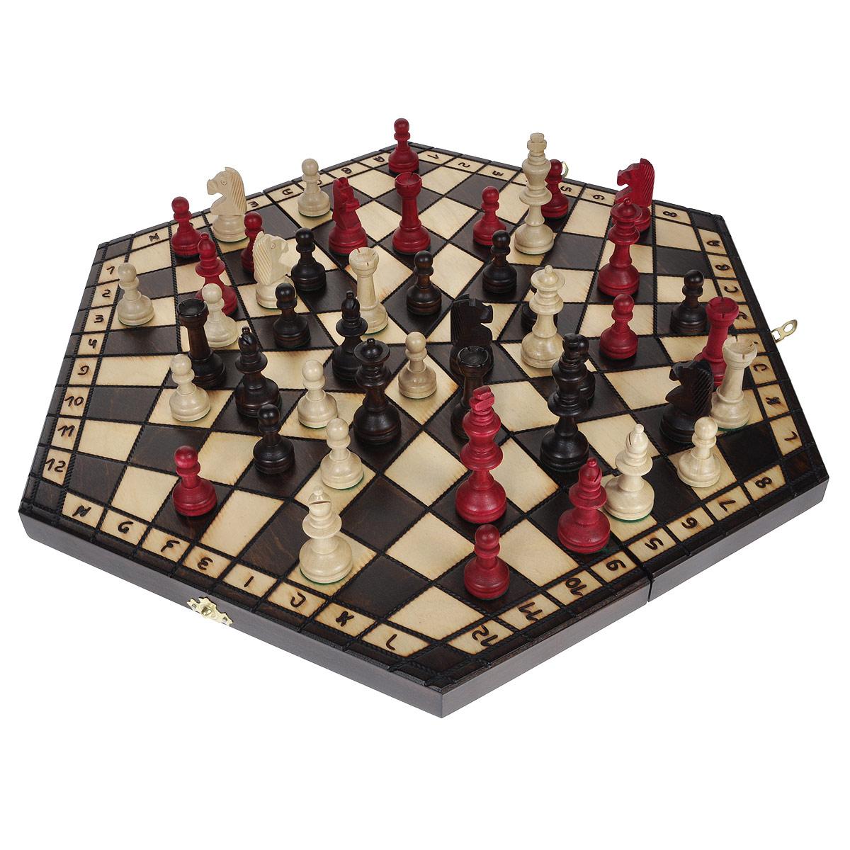 Шахматы Madon На троих, размер: 27х47х5 см. 162162Шахматы На троих - это обычные классические шахматы, только для троих игроков. Игра представляет собой деревянный кейс, закрывающийся на два замка-защелки. Внешняя поверхность кейса - игровое поле в форме правильного шестиугольника. В этом основное отличие от классических шахмат. Внутри - 3 ячейки для хранения шахматных фигур. Все фигуры - разных цветов (красный, коричневый, белый). Внутренняя поверхность кейса отделана бархатистой тканью красного цвета. Шахматная игра до сих пор была ограничена количеством двоих участников, в которой лучший игрок выигрывал с монотонной регулярностью. Шахматы На троих - это та же классическая игра, известная всем, но усовершенствованная для троих игроков, что делает ее уникальной и еще более интересной. В комплекте - подробная инструкция с правилами игры.