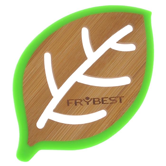 Подставка под горячее Frybest Листок бамбуковая, цвет: зеленый, 14 х 9 смCO08715B4O1 зеленыйПодставка под горячее Frybest Листок выполнена из высококачественной древесины бамбука в виде листочка с декоративной перфорацией. Подставка способна выдержать высокие температуры, а благодаря силиконовой окантовке зеленого цвета не скользит по поверхности стола. Каждая хозяйка знает, что подставка под горячее - это незаменимый и очень полезный аксессуар на каждой кухне. Ваш стол будет не только украшен яркой и оригинальной подставкой, но и сбережен от воздействия высоких температур. Характеристики: Материал: бамбук, силикон. Цвет: зеленый. Размер подставки: 14 см х 9 см х 1 см.