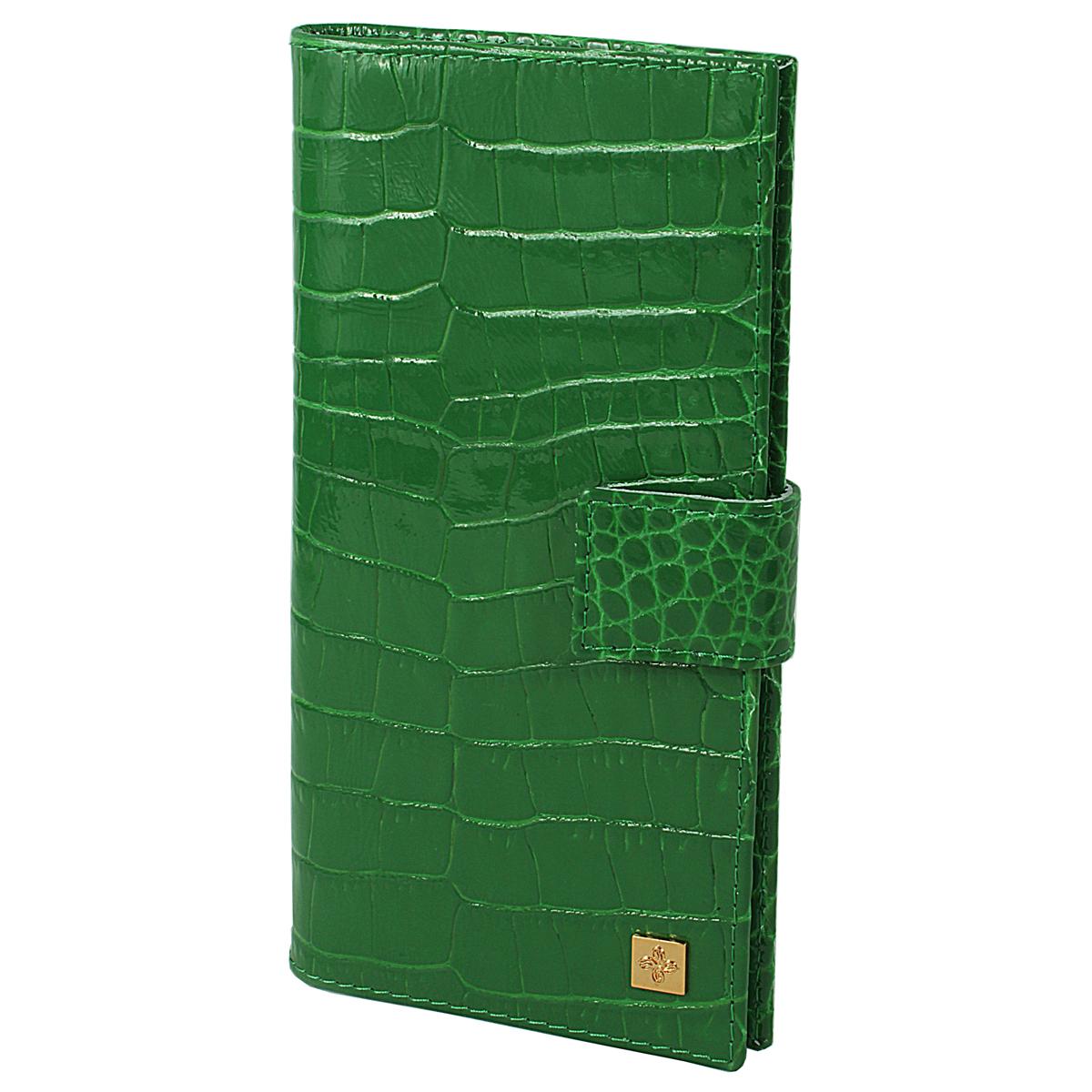 Портмоне женское Казино Dimanche Optima, цвет: зеленый. 987987Стильное женское портмоне Optima выполнено из высококачественной натуральной лаковой кожи с тиснением. Портмоне закрывается при помощи хлястика на кнопку. Внутри - четыре отделения для купюр, одиннадцать кармашков для визиток, карман на молнии для монет и два кармашка для sim-карт. Портмоне упаковано в фирменную картонную коробку. Характеристики: Материал: натуральная кожа, текстиль, металл. Размер портмоне: 18,5 см х 8,5 см х 3 см. Цвет: зеленый.