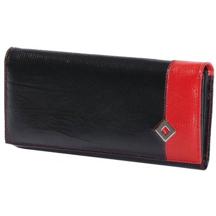 Портмоне женское Dimanche Papillon Noir, цвет: черный, красный. 413413Стильное женское портмоне Papillon Noir выполнено из высококачественной натуральной кожи с тиснением под рептилию. Портмоне закрывается широким клапаном на кнопку. Внутри - три отделения для купюр, отделение для мелочи на молнии, пять наборных кармашков для кредиток, карман с окошком из прозрачного пластика и четыре дополнительных кармана для бумаг. На задней стенке расположен дополнительный накладной карман. Портмоне упаковано в фирменную картонную коробку.