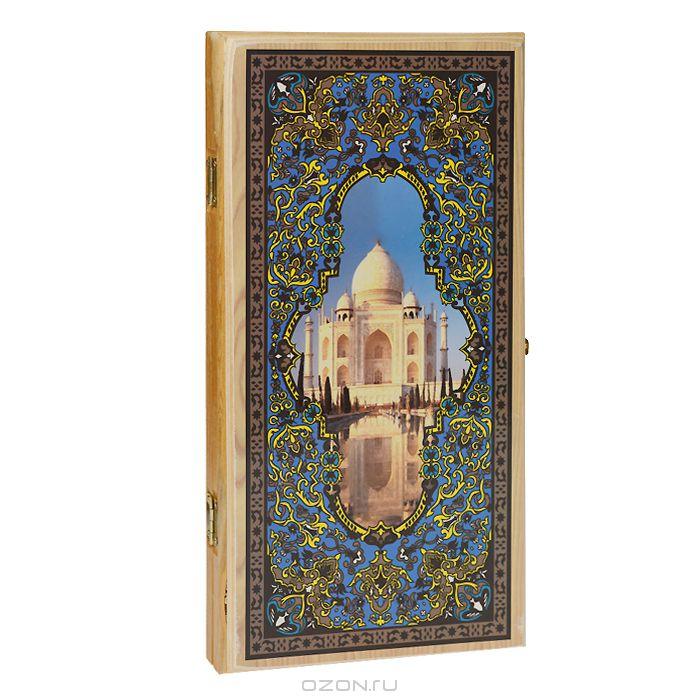 Нарды средние Походные. Тадж Махал, цвет: светлое дерево, размер: 50х25х4 см. 1046/81046/8 светлНарды Походные. Тадж Махал представляют собой деревянный кейс, который закрывается на металлический замок. Крышка оформлена изящным орнаментом и изображением Тадж Махала. Внутренняя часть кейса - игровое поле для игры в нарды. В наборе имеются два игральных кубика и деревянные шашки. На внешней стороне кейса расположено поле для игры в шашки. Цель игры состоит в том, чтобы сначала привести шашки в свой дом (мешая в тоже время сделать это сопернику), а затем, когда это удалось сделать, снять их с доски быстрее соперника. Побеждает тот, кто первым снял свои шашки. Нарды - древняя восточная игра. Родина этой игры неизвестна, однако, известно, что люди играют в эту игру уже более 7000 лет. На игровой доске для нард все кратно шести и имеет связь со временем. 24 пункта представляют 24 часа, 30 шашек представляют 30 дней в месяце, 12 пунктов на каждой стороне доски символизируют 12 месяцев. Нарды - это отличный подарок, который понравится каждому.