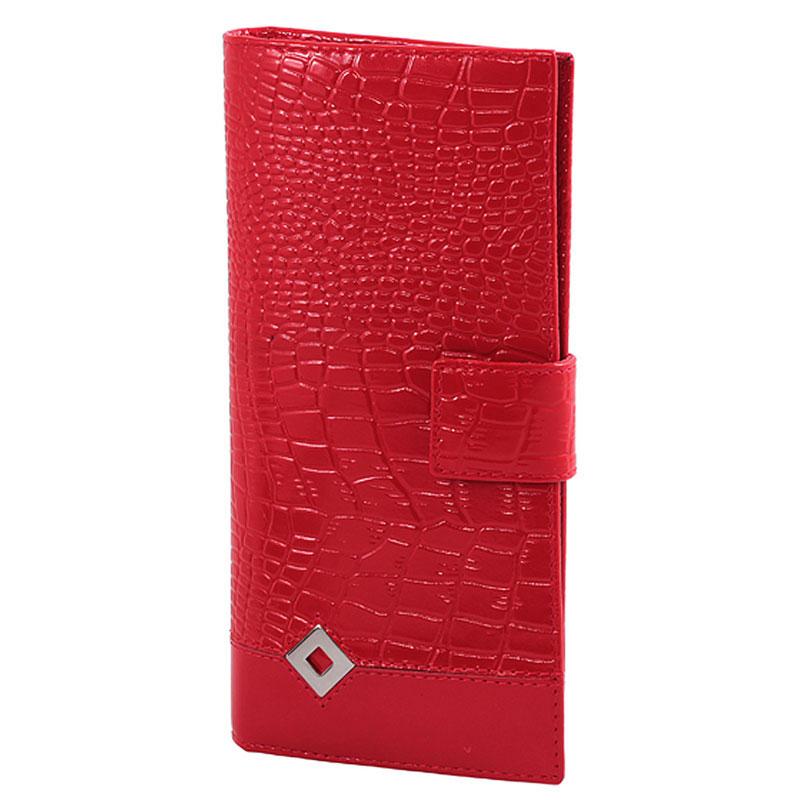 Портмоне женское Papillon Rouge Dimanche Optima, цвет: красный. 332332Стильное женское портмоне Optima выполнено из высококачественной натуральной лаковой кожи с тиснением. Портмоне закрывается при помощи хлястика на кнопку. Внутри - четыре отделения для купюр, одиннадцать кармашков для визиток, карман на молнии для монет и два кармашка для sim-карт. Портмоне упаковано в фирменную картонную коробку. Характеристики: Материал: натуральная кожа, текстиль, металл. Размер портмоне: 18,5 см х 8,5 см х 3 см. Цвет: красный.