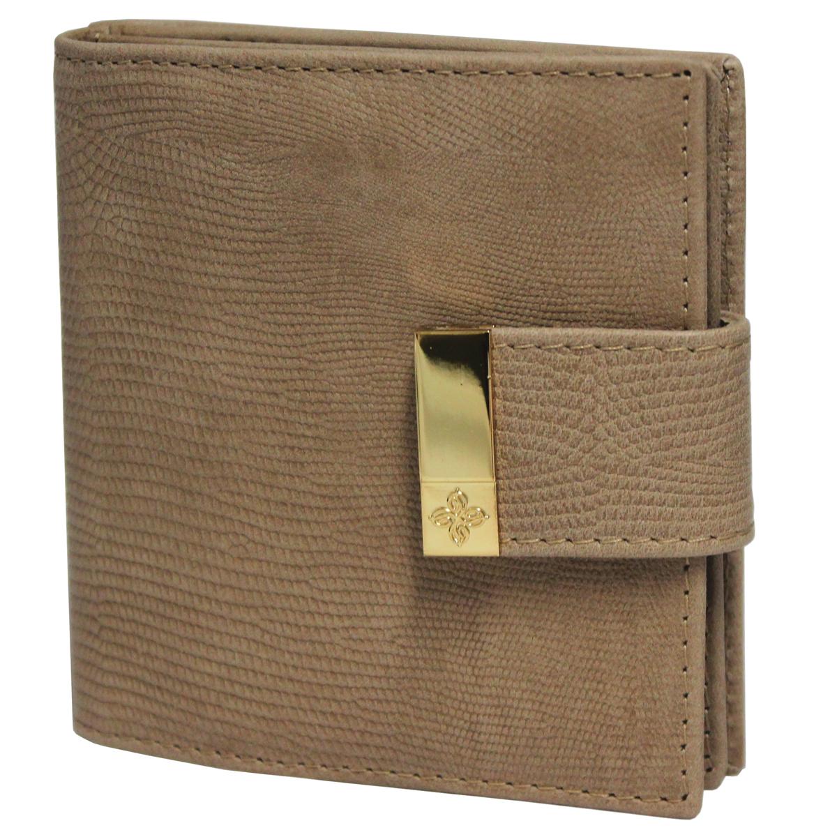 Кошелек женский Dimanche Elite Beige, цвет: бежевый. 241241Женский компактный кошелек Elite Beigel выполнен из натуральной высококачественной кожи с декоративным тиснением. Кошелек состоит из двух отделений. Первое отделение закрывается на магнитную кнопку, имеет четыре кармашка для кредиток и карман для монет с клапаном на кнопке. Второе отделение также закрывается на магнитную кнопку и содержит два кармана для купюр. Между отделениями также предусмотрен кармашек. Кошелек упакован в фирменную картонную коробку.