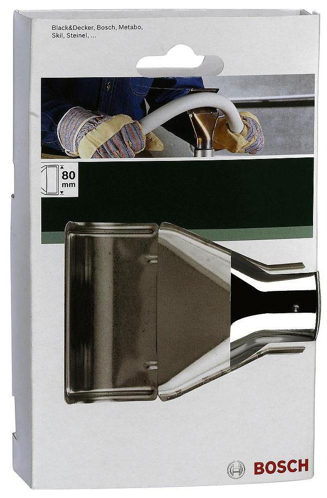 Сопло угловое Bosch, ширина 80 мм2609255802Угловое сопло Bosch используется в качестве сменной насадки для фена. Оно предназначено для формовки и горячей посадки пластиков.