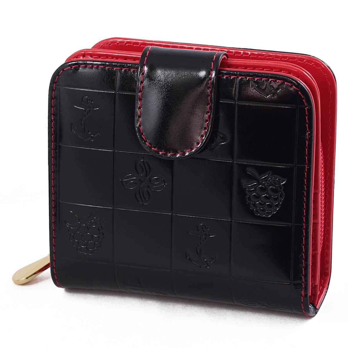 Кошелек женский Dimanche Bonbon, цвет: черный, красный. 295295Женский кошелек Bonbon выполнен из натуральной лаковой высококачественной кожи с декоративным тиснением. Состоит из двух отделений. В первом, закрывающимся на кнопку, имеется два отделения для купюр и восемь кармашков для кредитных карт. Второе отделение для мелочи закрывается на молнию, внутри имеется перегородка. Кошелек упакован в фирменную картонную коробку.
