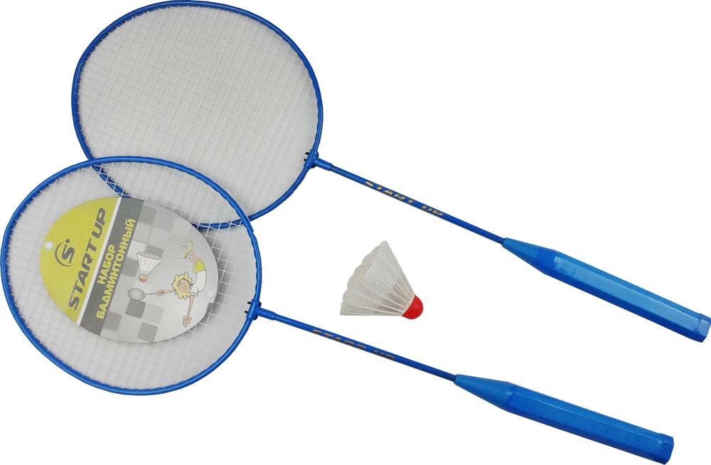Набор для бадминтона Start Up R-215, цвет: синий, белый, 3 предмета159599Набор для бадминтона Start Up R-215 предназначен для детей и игроков начального уровня. В наборе две легкие бадминтонные ракетки в сетчатом чехле и волан. Длина ракеток - 65 см.