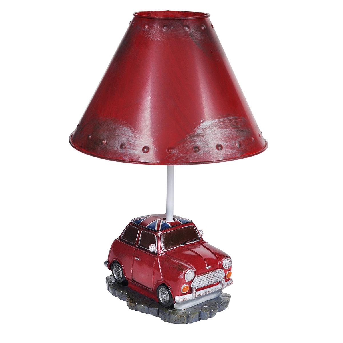 Светильник настольный Красный автомобиль. 2934129341Настольный светильник, изготовленный из полирезины, выполнен в виде красного автомобиля и оформлен металлическим абажуром красного цвета. Такой светильник прекрасно подойдет для украшения интерьера и создания атмосферы тепла и уюта. Внутри светильника расположена лампа накаливания. Светильник работает от электросети и включается при помощи кнопки на шнуре.