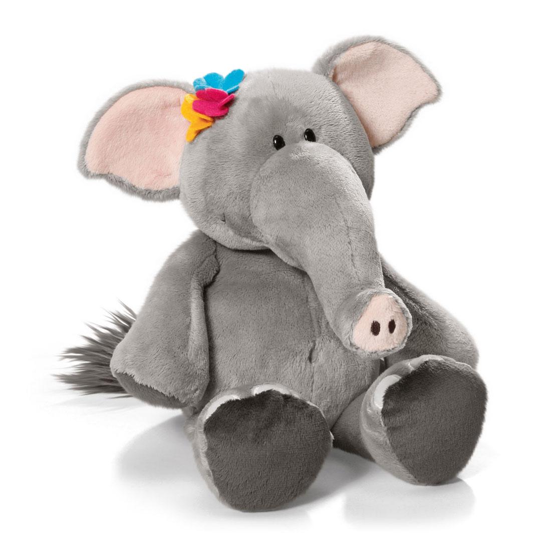 Мягкая игрушка Nici Слониха, сидячая, 35 см36606Симпатичная мягкая игрушка Слониха не оставит вас равнодушным и вызовет улыбку у каждого, кто ее увидит. Удивительно мягкая игрушка изготовлена из высококачественного текстильного материала серого и розового цветов с набивкой из синтепона и пластиковых гранул. Глазки у слонихи пластиковые, голова украшена разноцветными цветочками. Игрушку легко можно посадить на ровную поверхность. Оригинальный стиль и великолепное качество исполнения делают эту игрушку чудесным подарком к любому празднику. Немецкая компания Nici является одним из лидеров на Европейском рынке мягких игрушек и подарков. Продукцию компании можно встретить везде: это и значок на школьном рюкзаке, и магнит на холодильнике, и поздравительная открытка, и мягкая игрушка, и автомобильный талисман. Игрушки Nici - это товары высочайшего качества и инновационного дизайна. Для создания всего одной игрушки работает большое количество людей и используется самое современное оборудование и технологии. И...