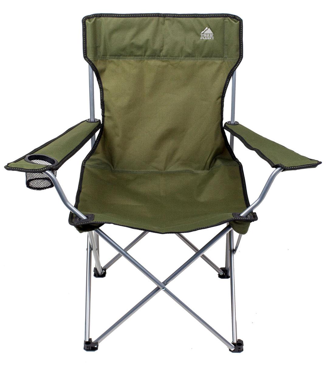 Кресло складное Trek PlanetLIFC007Комфортное складное кресло TREK PLANET PICNIC с широким сиденьем и высокой спинкой - прекрасный выбор для отдыха на природе, охоты и рыбалки. Прочный материал сиденья 600D полиэстер с защитой от ультрафиолетового излучения, не впитывает влагу и бысто сохнет. Комфорта добавляют широкие подлокотники и держатель для бутылок. Ножки имеют защиту из прочного пластика, предотвращая проваливание кресла в землю и песок. В сложенном состоянии не занимает много места и комплектуется чехлом с лямкой для переноски. Особенности: - Удобное сиденье. - Высокая спинка. - Очень легкое. - Широкие подлокотники. - Держатель для бутылок. - Прочный материал. - Защита от УФО. - Чехол с лямкой для переноски и хранения. Материал: 600D Polyester - стойкий к ультрафиолетовому излучению. Рама: 16 мм сталь. Размер в разложенном виде: 54 х 54 х 90 см. Размер в сложенном виде: 18 х 17,5 х 91 см. Вес: 2,7 кг. Нагрузка: 100...