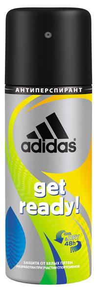 Adidas Дезодорант-спрей Get Ready! Cool & Dry, мужской, 150 мл34000936850Дезодорант-спрей Adidas Get Ready! Cool & Dry для него - это надежная защита надолго! Его уникальная формула разработана при участии спортсменов. Антиперспирант спрей обеспечивает ощущение моментальной свежести и помогает сохранить кожу сухой в течение 48 часов. Минимизирует белые пятна на коже и одежде. Не содержит спирт. Не нарушает pH баланс. Прошел дерматологическое тестирование. Характеристики: Объем: 150 мл. Товар сертифицирован.