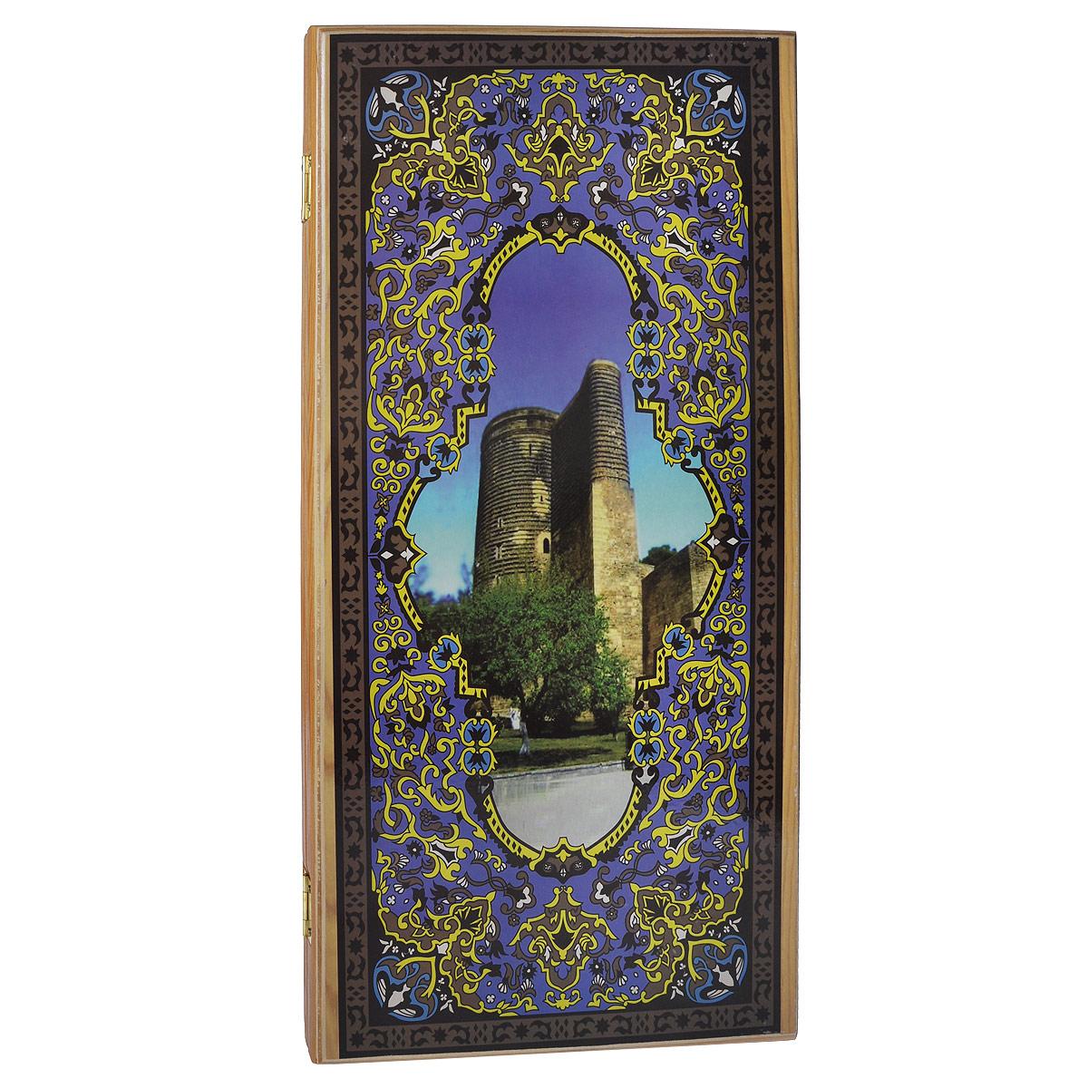 Нарды большие Походные. Девичья башня, цвет: светлое дерево, размер: 60х30х4 см. 1047/91047/9 светлНарды Походные. Девичья башня представляют собой деревянный кейс, который закрывается на металлический замок. Крышка оформлена орнаментом. Внутренняя часть кейса - игровое поле для игры в нарды. В наборе имеются два игральных кубика и деревянные шашки. Цель игры состоит в том, чтобы сначала привести шашки в свой дом (мешая в тоже время сделать это сопернику), а затем, когда это удалось сделать, снять их с доски быстрее соперника. Побеждает тот, кто первым снял свои шашки. Нарды - древняя восточная игра. Родина этой игры неизвестна, однако, известно, что люди играют в эту игру уже более 7000 лет. На игровой доске для нард все кратно шести и имеет связь со временем. 24 пункта представляют 24 часа, 30 шашек представляют 30 дней в месяце, 12 пунктов на каждой стороне доски символизируют 12 месяцев. Нарды - это отличный подарок, который понравится каждому.