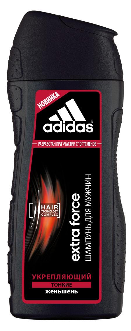 Adidas Шампунь Extra Force, укрепляющий, с женьшенем, для тонких волос, для мужчин, 200 мл340131995Экстремальный климат, занятия спортом и, как следствие, частое мытье головы способствует ослаблению волос. Мужчинам нужен шампунь, который не повреждает волосы даже при частом использовании. Шампунь Adidas Extra Force разработан при участии спортсменов. Его инновационная формула c комплексом Hair Technology обеспечивает глубокое очищение тонких волос. Комплекс Hair Technology – это уникальное сочетание двух основных компонентов, известных своим действием: - Пантенол: интенсивное увлажнение; - Катионный полимер: облегчение расчесывания волос. Формула шампуня с экстрактом женьшеня способствует укреплению волос и оказывает стимулирующее воздействие на кожу головы. Технология Без силикона исключительно бережно воздействует на волосы.