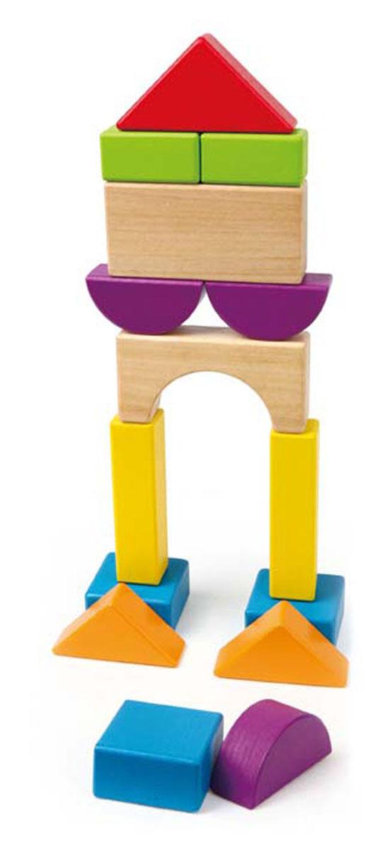 Развивающий конструктор Hape, 15 элементовЕ0904Деревянный развивающий конструктор Hape надолго займет внимание ребенка и не позволит ему скучать. Он включает в себя 15 деревянных элементов в виде различных геометрических фигур ярких цветов. С их помощью ребенок сможет собрать пирамидки, башни, домики и все, что подскажет ему фантазия. Элементы можно складывать по цветам и формам, превращаю процесс обучения в увлекательную игру. Игра с таким конструктором способствует развитию у ребенка внимания, усидчивости, пространственного мышления, координации движений, воображения и мелкой моторики рук.
