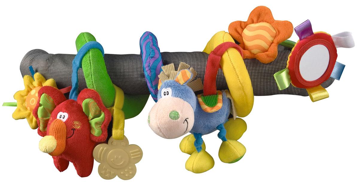 Мягкая игрушка-подвеска Playgro Toy Box0109824Мягкая игрушка-подвеска Playgro Toy Box привлечет внимание вашего малыша и не оставит его равнодушным. Она выполнена из текстильных материалов разных цветов и фактур в виде спиральки, к которой подвешены две игрушки - ослик и слоненок, прорезыватель и зеркальце. Внутри ослика спрятана сфера, гремящая при тряске. Внутри слоненка находится пищалка. Прорезыватель выполнен в форме звездочки, он поможет крохе снять неприятные ощущения при появлении зубов. Круглое безопасное зеркальце поможет ребенку развить эмоциональное восприятие. Благодаря своей форме, подвеска легко накручивается на перекладины или ручки детских колясок, кресел, бортики кроваток и манежей. Игрушка-подвеска  Toy Box  поможет малышу развить цветовое и звуковое восприятие, мелкую моторику рук и тактильные ощущения, хватательный рефлекс и концентрацию внимания.