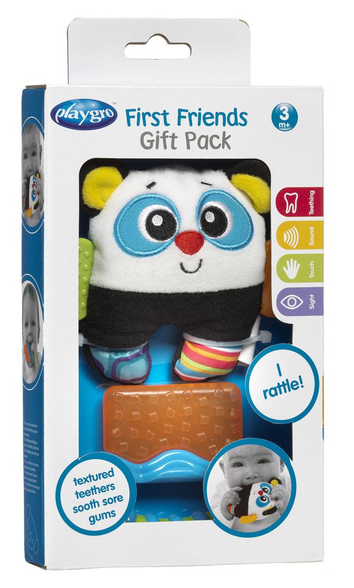 Развивающая игрушка-погремушка Playgro Панда, с прорезывателем182435Игрушка-погремушка Playgro Панда не оставит вашего малыша равнодушным и не позволит ему скучать! Игрушка выполнена в виде яркой, очаровательной панды из современных, легких материалов разных цветов и фактур. По бокам игрушка дополнена двумя небольшими прорезывателями, а внутри игрушки расположены шуршащие элементы и сфера, гремящая при тряске. Удобная форма игрушки позволит малышу с легкостью взять и держать ее, а приятный звук погремушки заинтересует и успокоит вашего малыша. В комплект с игрушкой входит прорезыватель с охлаждающим эффектом. Часть прорезывателя заполнена водой, которая остается холодной в течение долгого времени, а рельефная поверхность мягко массирует десны малыша и уменьшает дискомфорт при появлении зубов. Достаточно поместить его в холодильник на несколько минут и можно давать ребенку. Прорезыватель дополнен удобной ручкой. Игрушка-погремушка Playgro Панда поможет малышу в развитии цветового и звукового восприятия, концентрации внимания и...