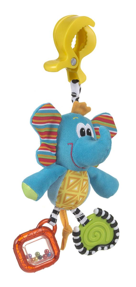 Игрушка-подвеска Playgro Слоник0182852Мягкая игрушка-подвеска Playgro Слоник привлечет внимание вашего малыша и не позволит ему скучать. Игрушка выполнена из мягкого текстильного материала разных цветов в виде симпатичного слоника. С помощью пластикового зажима игрушку легко можно прикрепить к детской кроватке, коляске, автомобильному креслу или игровой дуге малыша. На одной ножке слоника находится прорезыватель, а на другой ножке - прозрачная погремушка с разноцветными бусинками внутри. Мелкие, но яркие бусинки побуждают малыша фокусировать зрение на мелких объектах, а звук погремушки учит малыша находить объекты в пространстве.