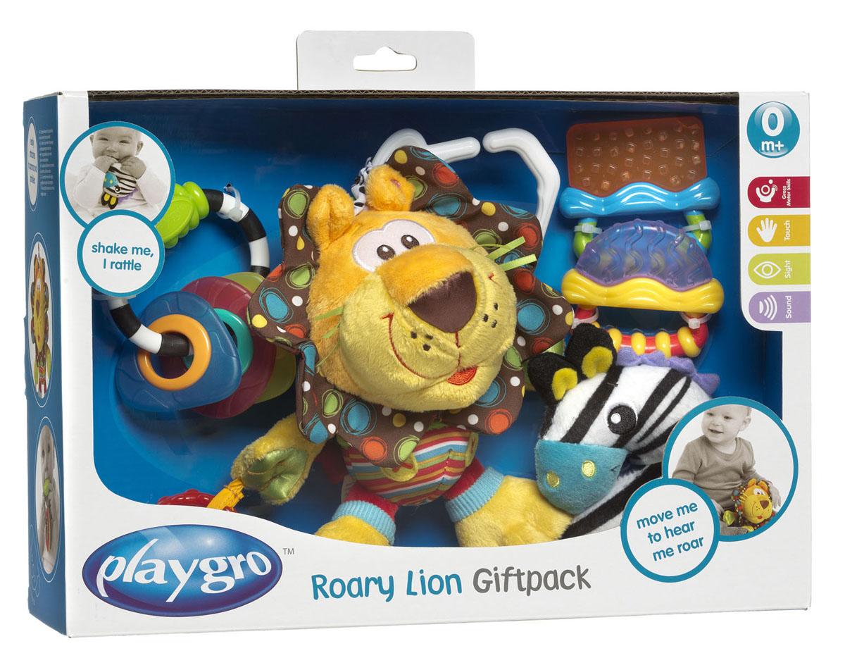 Набор игрушек Playgro Львенок, 5 шт183451Набор игрушек Playgro Львенок привлечет внимание вашего ребенка и не позволит ему скучать. Набор включает в себя игрушку-подвеску, две погремушки и два охлаждающих прорезывателя. Мягконабивная игрушка-подвеска выполнена в виде симпатичного льва. Его грива шуршит. Внутри головы перекатывается небольшой шарик. К одной из лап игрушки пришиты колечко и квадратик с рельефными краями. Львенка с помощью пластикового кольца можно повесить на кроватку, коляску или детское кресло крохи. Одна из погремушек мягкая и выполнена в виде зебры. Внутри нее спрятана сфера, гремящая при тряске. Ушки зебры шуршат, а ее ножки можно использовать в качестве прорезывателей. Другая погремушка представляет собой кольцо с нанизанными на него тремя элементами в виде треугольника, овала и квадрата. Благодаря мягкому пластику малыш сможет их грызть, используя в качестве прорезывателей. Два охлаждающих прорезывателя наполнены водой. Достаточно поместить их в холодильник на несколько минут и можно...