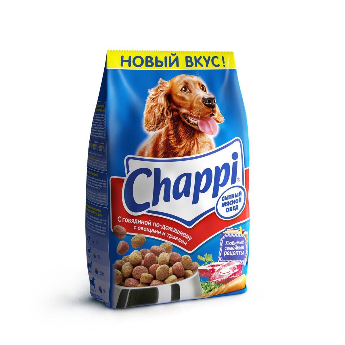 Корм сухой для собак Chappi Сытный мясной обед, с говядиной по-домашнему с овощами и травами, 2,5 кг10010Сухой корм Chappi Сытный мясной обед - это специально разработанная еда для собак с оптимально сбалансированным содержанием белков, витаминов и микроэлементов. Уникальная формула Chappi включает в себя все необходимые для здоровья компоненты: - мясо - для силы и энергии в течение дня; - овощи, травы и злаки - для отличного пищеварения; - масла и жиры - для блестящей шерсти и здоровой кожи; - кальций - для крепких зубов и костей; - витамины - для защиты здоровья; - минералы - для подержания собаки в оптимальной форме. Корм Chappi идеально подходит для вашего любимца как надежный источник жизненных сил. Состав: злаки, мясо и субпродукты, жиры животного происхождения, морковь, люцерна, растительные масла, минеральные вещества, витамины. Пищевая ценность в 100 г: белок - 18 г, жиры - 10 г, клетчатка - 7 г, влажность - не более 10 г, зола - 7 г, кальций - 0,8 г, фосфор - 0,6 г, витамин А - 500...
