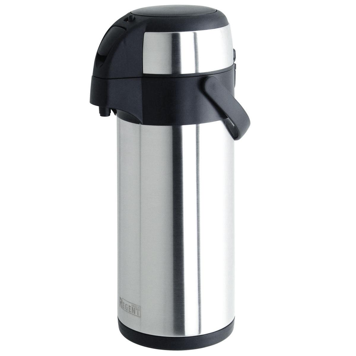 Термос Regent Inox, с пневмонасом, 3 л. 93-TE-G-1-300093-TE-G-1-3000Термос Regent Inox изготовлен из высококачественной пищевой нержавеющей стали с современной технологией теплоизоляции. Высокая надёжность и долговечность. Имеется глубокий вакуум и двойная металлическая колба, способствующая более длительному сохранению тепла. Механизм с пневмонасосом позволит без труда, с помощью одного нажатия на крышку термоса, налить содержимое в чашку. Термос удобен в использовании дома, на даче, в турпоходе и на рыбалке. Пригодится на работе, в офисе и командировке, экономит электроэнергию и время. Легко разбирается и моется.