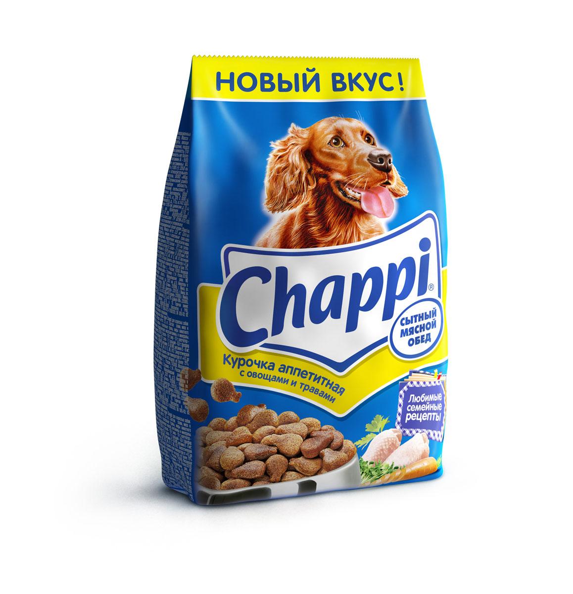 Корм сухой для собак Chappi Сытный мясной обед, курочка аппетитная, 2,5 кг25358Сухой корм Chappi Сытный мясной обед - это специально разработанная еда для собак с оптимально сбалансированным содержанием белков, витаминов и микроэлементов. Уникальная формула Chappi включает в себя все необходимые для здоровья компоненты: - мясо - для силы и энергии в течение дня; - овощи, травы и злаки - для отличного пищеварения; - масла и жиры - для блестящей шерсти и здоровой кожи; - кальций - для крепких зубов и костей; - витамины - для защиты здоровья; - минералы - для подержания собаки в оптимальной форме. Корм Chappi идеально подходит для вашего любимца как надежный источник жизненных сил. Состав: злаки, мясо и субпродукты, жиры животного происхождения, морковь, люцерна, растительные масла, минеральные вещества, витамины. Пищевая ценность в 100 г: белок - 18 г, жиры - 10 г, клетчатка - 7 г, влажность - не более 10 г, зола - 7 г, кальций - 0,8 г, фосфор - 0,6 г, витамин А - 500...