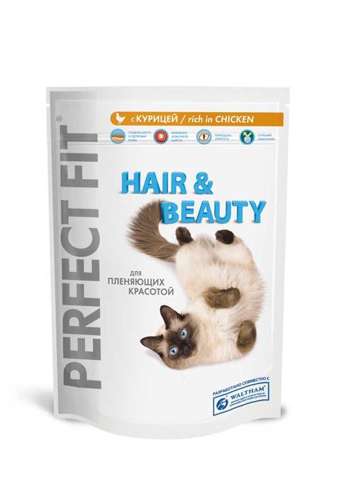 Корм сухой Perfect Fit Hair & Beauty для длинношерстных кошек, с курицей, 750 г37417Сухой корм Perfect Fit Hair & Beauty - полнорационный сухой корм для взрослых кошек. Корм специально создан для поддержания красоты и здоровья домашних кошек с пушистой шерстью. Гладкая шерсть и здоровая кожа. Корм способствует поддержанию здоровой кожи и блестящей шерсти благодаря содержанию биотина, цинка и омега-6 кислот. Предотвращает образование комочков шерсти. Корм содержит натуральную клетчатку, помогающую контролировать образование комочков шерсти в организме кошки. Природная зоркость. Содержит витамин А и таурин, необходимые для поддержания здоровья глаз и природной зоркости. Сильный иммунитет. Содержит витамины С, Е и таурин, помогающие поддержанию иммунной системы. Состав: высушенный белок птицы (включая 23% курицы), пшеница, высушенный животный белок, куриный жир, продукты переработки пшеницы, высушенный белок злаков, рис (не менее 4%), высушенная печень, целлюлоза, сухая свекла, мясокостная мука, соль, экстракт цикория (не...
