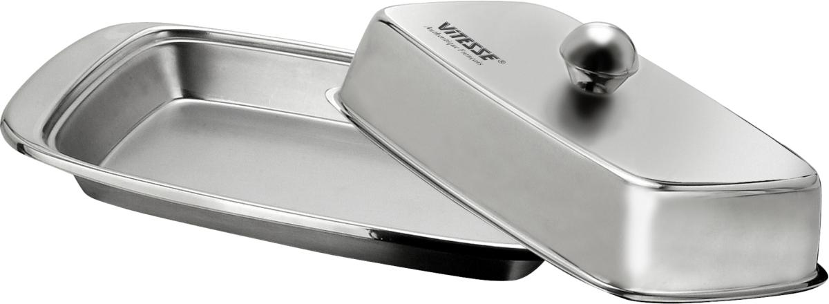 Масленка Vitesse ElleVS-1220Масленка Vitesse Elle изготовлена из высококачественной нержавеющей стали 18/10 с матовой полировкой. Масленка предназначена для красивой сервировки и хранения масла. Она состоит из подноса и крышки с ручкой. Масло в ней долго остается свежим, а при хранении в холодильнике не впитывает посторонние запахи. Можно мыть в посудомоечной машине. Характеристики: Материал: нержавеющая сталь 18/10. Размер подноса: 19 см х 10,5 см х 2 см. Размер крышки (ДхШхВ): 16 см х 9,5 см х 3 см.