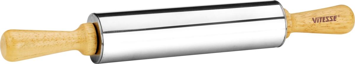 Скалка Vitesse Lara, длина 38 см. VS-1923VS-1923Скалка Vitesse Lara поможет быстро и легко раскатать тесто. Эргономичные деревянные ручки и вращающийся валик делают работу быстрой и приятной. Валик изготовлен из нержавеющей стали с зеркальной полировкой. Теперь вам не потребуется много усилий, чтобы раскатать тесто.