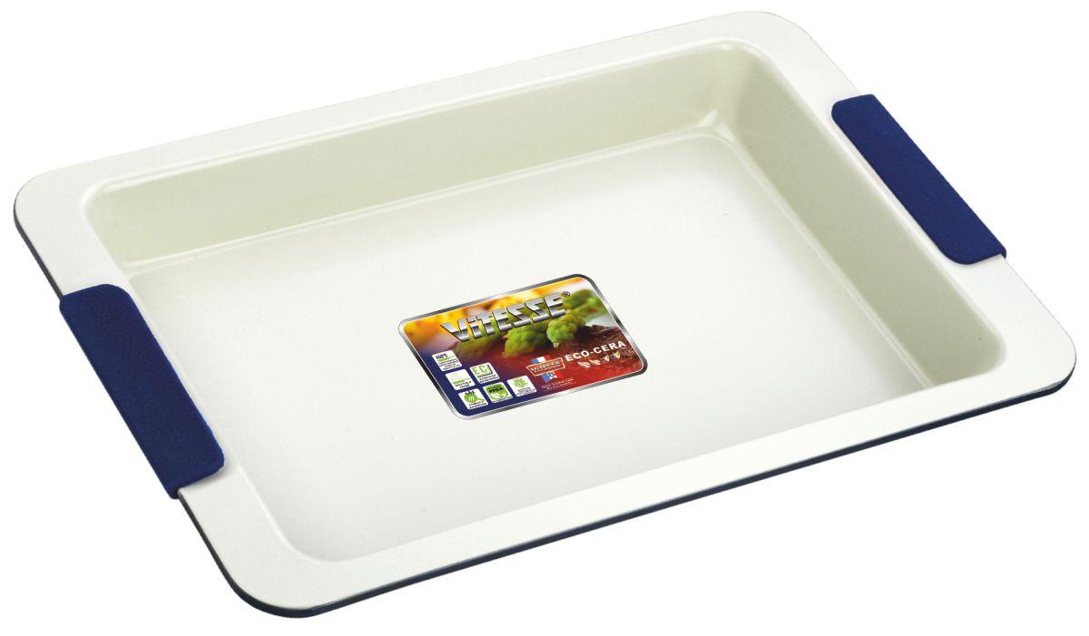 Форма для выпечки Vitesse, цвет: синий, 33 х 23 см VS-1966VS-1966Прямоугольная форма для выпечки Vitesse изготовлена из высококачественной углеродистой стали. Внутреннее керамическое покрытие Eco-Cera светло-серого цвета, позволяющее готовить при температуре 220°С, не оставляет послевкусия, делает возможным приготовление блюд без масла, сохраняет витамины и питательные вещества. Такое покрытие абсолютно безопасно для здоровья человека и окружающей среды, так как не содержит вредной примеси PFOA и имеет низкое содержание CO в выбросах при производстве. Керамическое покрытие обладает высокой прочностью и устойчивостью к царапинам. Кроме того, с таким покрытием пища не пригорает и не прилипает к стенкам. Готовить можно с минимальным количеством подсолнечного масла. Высокотехнологичное внешнее покрытие, подвергшееся температурной обработке, устойчиво к механическим повреждениям. Удобные ручки оснащены съемными силиконовыми вставками. Простая в уходе и долговечная в использовании форма Vitesse будет верной помощницей в ...