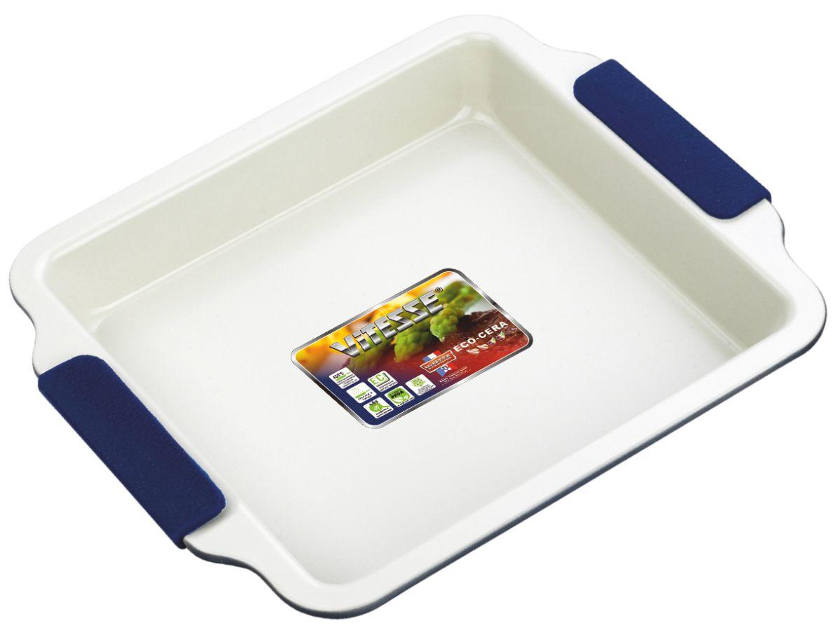 Форма для выпечки Vitesse, цвет: синий, 23 х 23 см VS-1968VS-1968Квадратная форма для выпечки Vitesse изготовлена из высококачественной углеродистой стали. Внутреннее керамическое покрытие Eco-Cera светло-серого цвета, позволяющее готовить при температуре 220°С, не оставляет послевкусия, делает возможным приготовление блюд без масла, сохраняет витамины и питательные вещества. Такое покрытие абсолютно безопасно для здоровья человека и окружающей среды, так как не содержит вредной примеси PFOA и имеет низкое содержание CO в выбросах при производстве. Керамическое покрытие обладает высокой прочностью и устойчивостью к царапинам. Кроме того, с таким покрытием пища не пригорает и не прилипает к стенкам. Готовить можно с минимальным количеством подсолнечного масла. Высокотехнологичное внешнее покрытие, подвергшееся температурной обработке, устойчиво к механическим повреждениям. Удобные ручки оснащены съемными силиконовыми вставками. Простая в уходе и долговечная в использовании форма Vitesse будет верной помощницей в ...