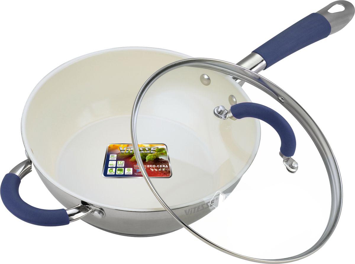 Сковорода Vitesse Blue Arch с крышкой, с керамическим покрытием. Диаметр 24 см. VS-2045VS-2045Сковорода Vitesse Blue Arch изготовлена из высококачественной нержавеющей стали 18/10 с комбинированной полировкой. Внутреннее керамическое покрытие Eco-Cera, позволяющее готовить при высоких температурах, не оставляет послевкусия, делает возможным приготовление блюд без масла, сохраняет витамины и питательные вещества. Покрытие устойчиво к царапинам и механическим повреждениям. Безопасно для человека, не содержит PFOA. Многослойное термоаккумулирующее дно с алюминиевой прослойкой обеспечивает равномерное распределение тепла. Сковорода оснащена прочной ручкой из нержавеющей стали с силиконовым покрытием синего цвета. Крышка из термостойкого стекла снабжена металлическим ободом, удобной стальной ручкой и отверстием для выпуска пара. Такая крышка позволит следить за процессом приготовления пищи без потери тепла. Она плотно прилегает к краям сковороды, сохраняя аромат блюд. Сковорода подходит для использования на всех типах кухонных плит,...